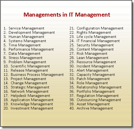 Management in IT Management