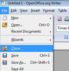 Close files in OpenOffice