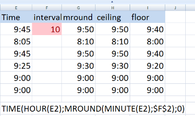 Rounding time in Excel